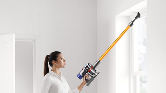 Dyson V8 direct drive cleaner head cleaning across carpet and hard floor